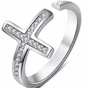 Silver Open Cross Ring
